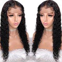 perruque de dentelle péruvienne achat en gros de-13X6 Perruque de cheveux humains préplucked 360 Lace Front Lace Front perruque pour femmes noires Vague de l'eau péruvienne Remy perruque