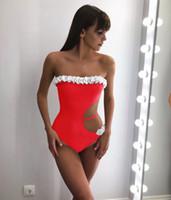 heißer badeanzug bestellen groihandel-2019 neue heiße sexy ausschnitt badebekleidung für frauen rot schwarz trägerlosen badeanzug trendy lady beachwear monokini smalll order badeanzug