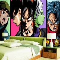 papel pintado japonés para paredes al por mayor-Super Wallpaper Japanese anime 3D Mural de pared Goku Photo wallpaepr para niños Dormitorio Sofá TV Rollos de fondo