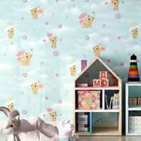 rosa blaue bärenkarikatur großhandel-Cartoon Rosa Blau Beige Kinderzimmer Tapete Cute Bear Tapeten 3d Für Jungen Mädchen Schlafzimmer