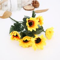 ingrosso fiori artificiali di fascia alta-Simulazione Flower 7 Fork Artificiale Imitazione Girasole Wedding Home Room Decor Puntelli finti Bouquet di stoffa di seta di fascia alta