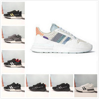 Wholesale discounted running shoes for women resale online - 2019 New ZX RM Rainbow Running Shoes for Top quality Discount Sports Trainers Men Women Jogging zx500