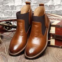 sapatas de trabalho do deslizamento do couro dos homens venda por atacado-Mocassins de grife para homens Sapatos masculinos de cano alto tamanho grande Martin sapatos, botas masculinas, botas de trabalho, bota de cowboy, todos os calçados masculinos de couro W75