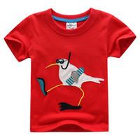 karikaturkragenhemd großhandel-Kurzarm Kinder tragen Baumwolle Kurzarm Cartoon T-Shirt für Kinder runder Kragen reine Farbe Cartoon Tiere 4