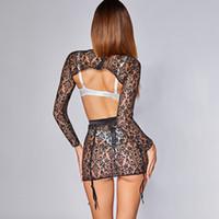 abra ver através da roupa de dormir venda por atacado-Mulheres Sexy See-Through Nightgown Lace Babydoll Malha Vestido Bra Saia Aberta Lingerie Erótica Set Pijamas Camisola