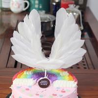 plumas de las fuentes del partido al por mayor-Ala de plumas de ángel Bandera Toppers de pastel para la boda Fiesta de cumpleaños Postre Hornear Pastel Suministros de decoración superior Decoración de pastel de plumas de ángel
