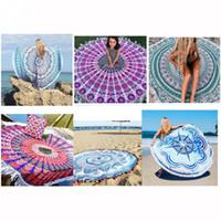 estera de yoga circular al por mayor-Baño de sol Impreso Toalla de Playa Diseñador de Mujeres Mantón Circular con flecos Toalla de Playa Liusu Manta Estera de Yoga Toalla de Mujer 19