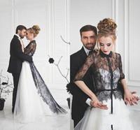 Wholesale plus size wedding coats for sale - Group buy 2020 Black and White Gothic Wedding Dresses With Coat Two Pieces Half Sleeve Lace Chapel Bridal Gowns vestidos de novia Plus Size