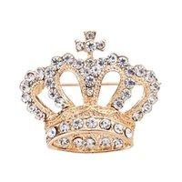 kore broşları toptan satış-Kadın Marka Tasarımcı Kore Kristal Broş Düğün Takı Aksesuar Kadınlar boutonniere Toptan İçin Moda Taç Broş