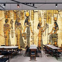 Wholesale egyptian oil paintings resale online - Custom Wall Mural Wallpaper For Walls D Retro Nostalgia Egyptian Characters Oil Painting Living Room Restaurant Backdrop Decor