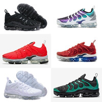 ingrosso scarpe da ginnastica nere scontate-2018 2018 nike air max vapormax 2 off white airmax tn flyknit nuove scarpe Vapor TN Plus Grape Volt Hyper Violet rosso Uomo Donna Scarpa sportiva Bianco Nero blu trainer Luxury airs tn Sneakers