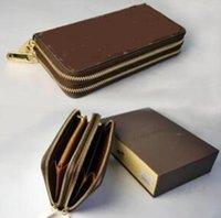 Wholesale luxury pouch bags wallet purse online - Luxury famous brand classic standard wallet men women long purse money bag double zipper pouch coin pocket note compartment