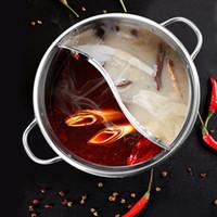 ollas de cocina de acero inoxidable al por mayor-1pc cocinar olla de acero inoxidable de una sola capa Ollas 30cm del oído Doble Pato Mandarín Fondue Hot Pot crisol de cocinar