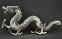 Wholesale antique statues imitation resale online - Decorated Miao Silver Carving Lifelike Dragon Rare Noble Statues Tibetan Silver decoration bronze factory outlets