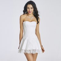 fantasia de vestido de esparguete branco venda por atacado-Nupcial Do Casamento Lingerie Listrado Floral Lace Branco Sexy Corset Vestido Gótico Roupas Trajes Burlesco Vitoriana Para As Mulheres