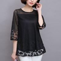 siyah artı boyutu bluzlar toptan satış-M-5xl Kadınlar Yaz Bluzlar Gömlek Şifon Kadın Üstleri 2019 Yeni Moda Kadınlar Bluzlar Artı Boyutu Bluzlar Beyaz Kırmızı Siyah 811e