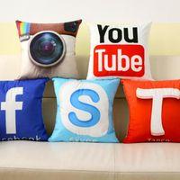 gelbe gläser karikatur großhandel-Kreative Facebook Pillow Logo Intelligente Twitter Google Google Home Decor Kissen nette Karikatur-Haustier-Katzen-Bull Dog-Brille für Kinder Geschenk