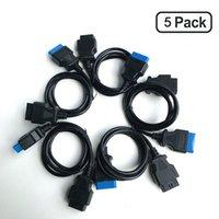 cable volvo obd2 al por mayor-Paquete de 5 conector del cable de extensión OBD2 cable de extensión 16pin 16pin OBD2 de 16 pines conector del adaptador de cable de OBDII diagnóstico auto