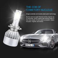 luces led para coche h7 al por mayor-C6 MAX linterna del coche H1 H3 H4 H7 H11 9005 9006 9007 Lámparas LED luces del coche COB haz automático de faros de estilo Luces Accesorios HHA124