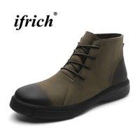 bot içeride kürk toptan satış-Vintage Marka Erkek Ayakkabı Moda Erkekler Çizmeler Içinde Kürk Kış Çizmeler Erkek Haki Siyah Rahat Ayakkabılar Ayak Bileği Hakiki Deri