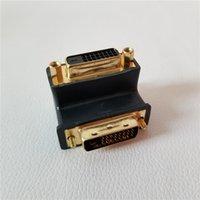 courbure d'or achat en gros de-24 + 1Pin DVI mâle à femelle 90 degrés adaptateur connecteur de cintrage convertisseur de cintrage plaqué or