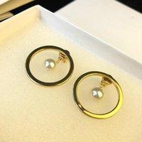 ingrosso orecchini d'ottone-Orecchini da sposa di lusso per donna stile boemo DARCEY Classico in ottone dorato con perla orecchini regalo