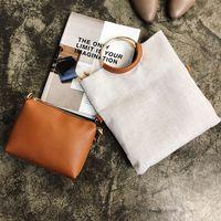 falte über kettenbeutel großhandel-Vintage Ring Frauen Handtaschen Leinen-Composite-Taschen Tageskupplungen falten Umschlag Taschen Kette Weibliche Schulter Crossbody-Tasche Totes