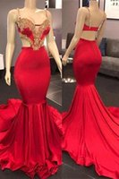 Wholesale beaded spaghetti strap mermaid dress for sale - Group buy Red Spaghetti Straps Mermaid Prom Party Dresses Lace Applique Beaded Sweep Train Long Prom Gowns Formal Party Dress New Arrival