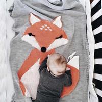garn baby decken großhandel-Babydecke Strickdecke weiblich Baby Boy Fox Garn Quilt Grey Cotton Kinder Klimaanlage Decke 4