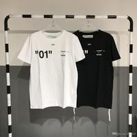 ingrosso maglietta bianca nera bianca-2019 Nuovo di alta qualità digitale 01 manica corta da uomo e donna Brand Design nero bianco T Shirt girocollo in cotone Top paio Tshirt