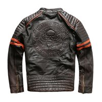 6fa9628ada4 American customs vintage dark brown MABOBO CLASSIC leather jackets retro 100%  men motorcycle leather jackets for sale