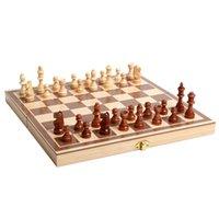 ingrosso scacchi internazionali-Internazionale di Scacchi minimalista porcile legnosità il collage Stile L'Occidente Bozze pieghevole Scacchiera bagagli pezzo caldo di vendita 19 5JY J1