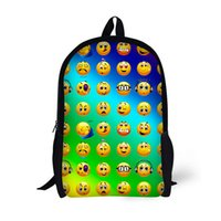 ingrosso zaino nero emoji-Zaino per bambini 17 pollici Bookbag per età 6-15 Borse per ragazzi studenti Borse per scuola Nero 3D Emoji Design Bambini Daypack