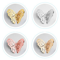 Wholesale chinese wedding stickers for sale - Group buy 12pcs set Hollow D Butterfly Wall Sticker for Wedding Decoration living room Home Decor Gold silver Butterflies stickers