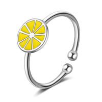 ingrosso porcellana d'argento d'argento dei monili-JZ249 Arancione-foresta personalità anello di limone dito indice femminile piccola bocca fresca gioielli mano regolabile semplice bello