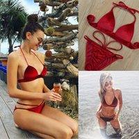 culotte sangle réglable achat en gros de-Hirigin 2018 Nouvelle Mode Rouge Sexy Soutien-Gorge Ensemble Bretelles Réglables Bralette pour Femmes Sous-Vêtements 3 Point Beachwear Ensemble Doux Culotte