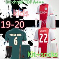 uniforme de bebe de futbol al por mayor-Calidad tailandesa 2019 2020 Ajax FC niños kits + calcetines camiseta de fútbol 19 20 KLAASSEN FISCHEA BAZOER MILIK uniformes camiseta bebé Ajax FC camiseta de fútbol