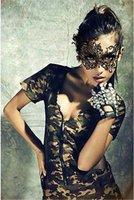 venetian karnaval kostümleri toptan satış-Siyah Kadınlar Için Seksi Dantel Göz Maskesi Parti Maskeleri Maskeli Cadılar Bayramı Venedik Kostümleri Karnaval Maskesi Anonim Mardi Için 100 Adet / grup