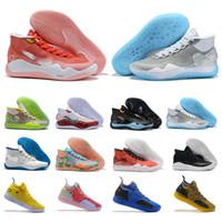 баскетбол кевин дюрант синяя обувь оптовых-Designer Kd 11 12 Мужские кроссовки для баскетбола Kevin Durant XII XI 11s 12s Мужские спортивные кроссовки Тройная черная пена Красный Желтый Синий Размер 40-46 Zapatos