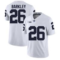 penn state nittany lions venda por atacado-NCAA Penn Estado Nittany Lions Saquon Barkley Camisola de Futebol Da Faculdade camisas Venda Quente Azul Marinho Branco Costurado Camisas