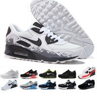 Wholesale black white flat buttons resale online - 2019 New Trainer Shoes Classic Men Women Cheap Sports Shoes Black Red White Air Cushion Designer Air90 Sneakers