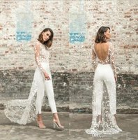 Wholesale ivory jumpsuits for sale - Group buy Sexy Jumpsuit Evening Dresses with Overskirt Pants Arabic Dubai Long Sleeves Backless Formal Gown Ankle Length Prom Outfit BC2632