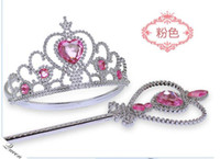 Wholesale Frozen crown magic wand princess headdress Halloween party heart drill hoop set