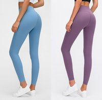 Wholesale womens yoga pants tights for sale - Group buy LU Solid Color Women Designer Leggings High Waist Gym Wear Elastic Fitness Lady Overall Full Tights Workout Womens Sweatpants Yoga Pants