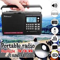 mw mp3 venda por atacado-Handheld FM / MW / SW Full Band Internacional Rádio LED com MP3 Player Micro TF USB Alto-falante ao ar livre