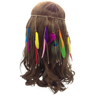 indische stirnbänder großhandel-Böhmische Pfau Federn Hairband indische Feder Stirnband Quaste Hanfseil für Frauen Mädchen Mode niedlich Festival Kopfschmuck