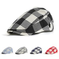 Wholesale christmas berets resale online - Children s hat British wind cotton outdoor hat Children s classic classic color square duck painter beret EEA436