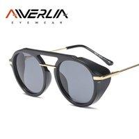yuvarlak steampunk güneş gözlüğü gözlükleri toptan satış-AIVERLIA Klasik Steampunk Güneş Kadınlar Marka Tasarımcısı Erkekler Için Vintage Retro Yuvarlak Güneş Gözlükleri Gözlük ulculos UV400 AI47