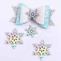 Wholesale christmas hair accessory handmade resale online - 10pcs Christmas Colorful Laser Snowflakes Applique DIY Hair Accessories Craft Supplies Hair Bows Ornaments Handmade Headwear