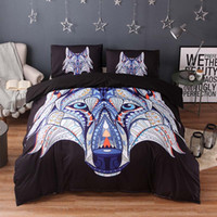 Wholesale twin wolf print bedding sets for sale - 3d Animal Bedding Sets Wolf Print Luxury Bed Cover Duvet Cover Comforter Sheet on Elastic Queen King Twin Size Bed Sheets